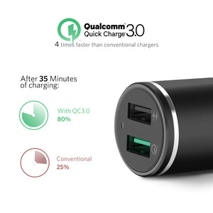30W QC 3.0 Dual USB Car Charger