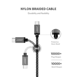 UGREEN USB C Cable 3.1 Fast Charger Type C-C Power Cord Braided Compatible for Google Pixel 2 XL, Nexus 6P 5X, MacBook Pro, Samsung Galaxy S10 Note9 S8 Plus S9, Nintendo Switch, LG G7 V20 V30 G6 3FT - Ugreen