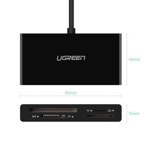 UGREEN USB C SD Card Reader for Samsung S10 S9 S8 Plus Note 9 8 USB 3.1 Type C OTG Memory Card Reader 4 Ports TF SD CF MS Adapter for Pixel 2 XL, LG V20 V30 G6 G7, Nexus 5X 6P, Moto Z,Oneplus, Macbook - Ugreen