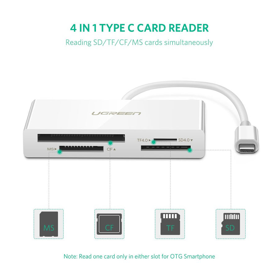 UGREEN USB C Card Reader USB 3.1 Type C UHS-II Card Adapter SD TF CF MS Reader 4 slots Compatible for Samsung S10 S9 S8 Plus Note 8, Macbook, Google Pixel XL 2XL, LG V20 V30 G5 G6, Nexus 5X 6P, Moto Z - Ugreen