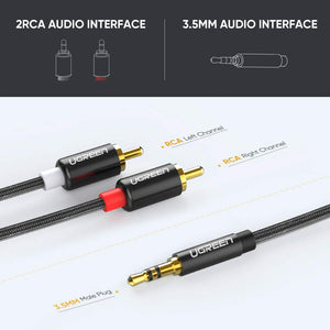 3.5mm to 2RCA Audio Y Splitter Cable - Ugreen
