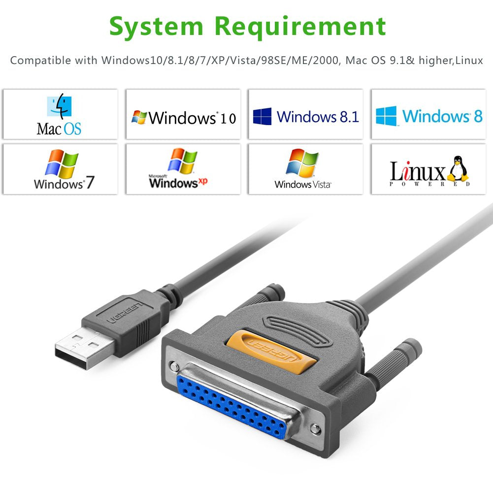 UGREEN USB2.0 To Parallel IEEE 1284 USB to DB25 Printer Cable Adapter PC Scanner
