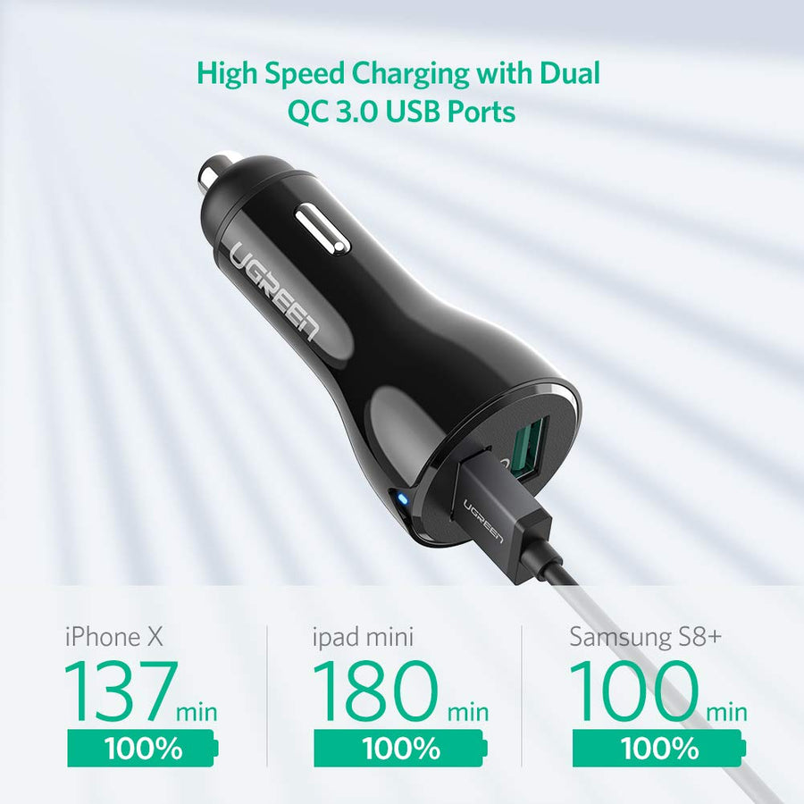 2-Port QC 3.0 USB Car Charger - Ugreen