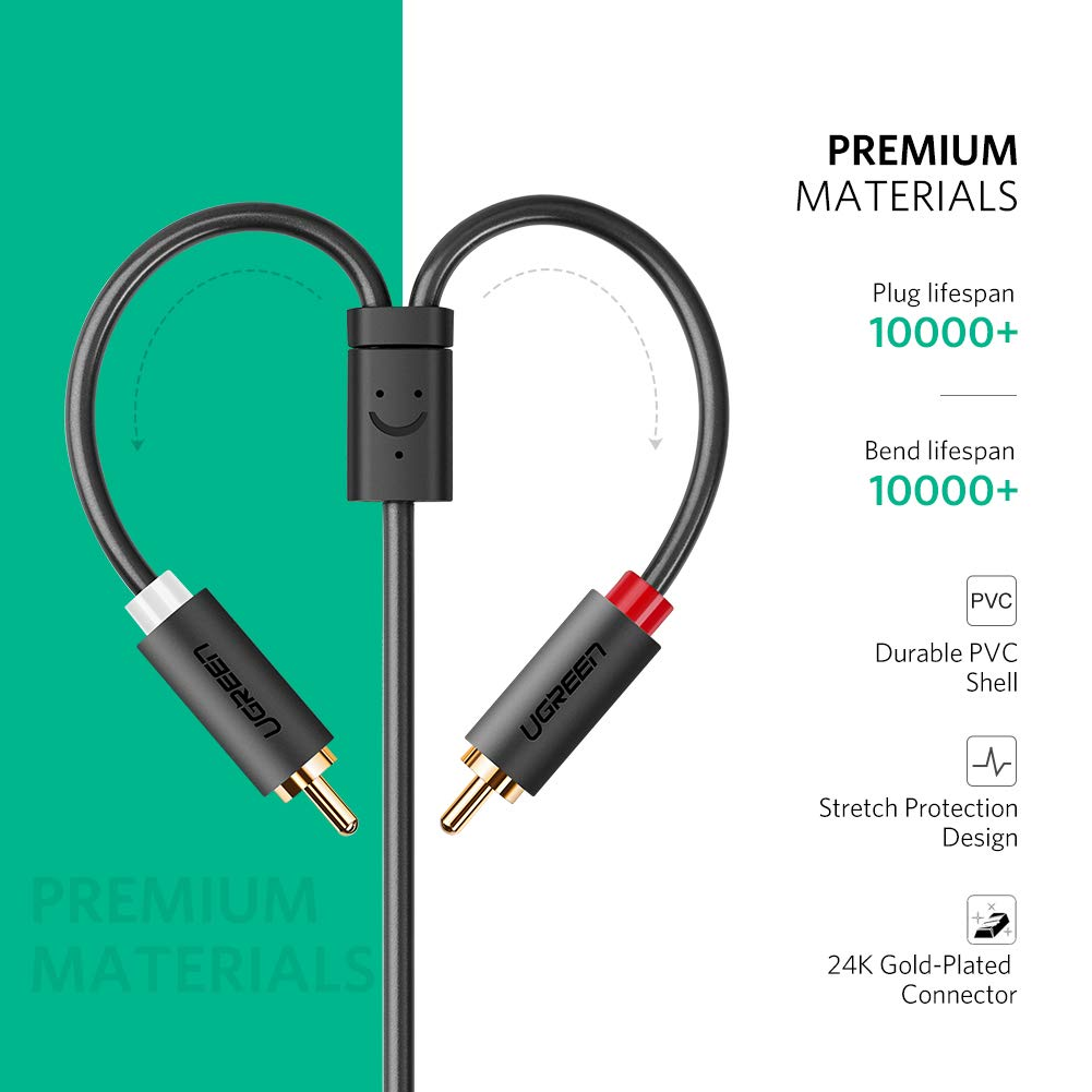 3 5mm to 2 RCA Audio Cable