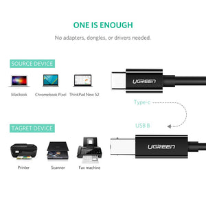 USB C to Type B 2.0 Printer Cable