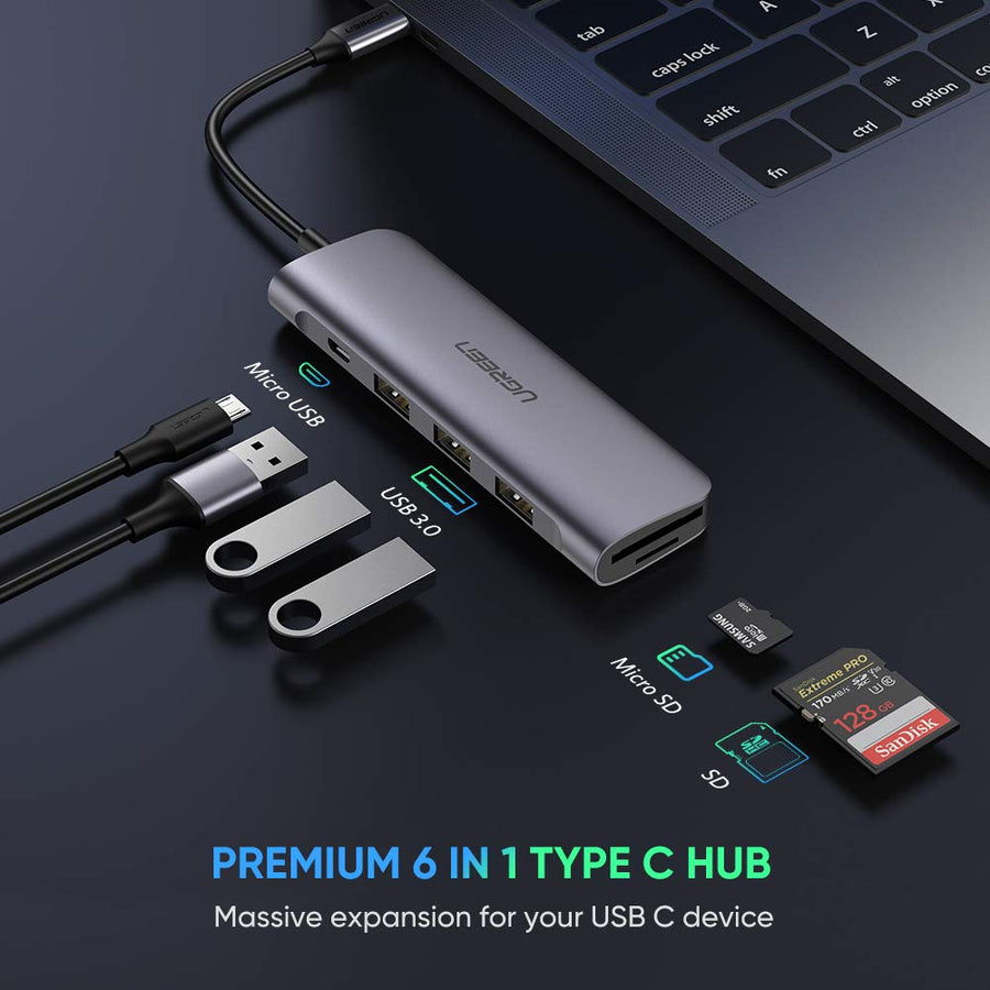 UGREEN USB C Hub with SD Card Reader Aluminum USB Type C 3.1 Adapter OTG Thunderbolt 3 Dongle Dock with 3 USB 3.0 Ports, SD TF Dual Card Reader for MacBook Pro Air, XPS, Chromebook, Galaxy S10, Laptop - Ugreen