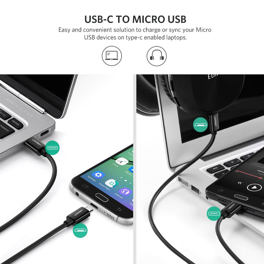 USB C to Micro USB Data Cable