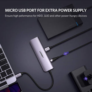 UGREEN USB C Hub Type C to 4 Port USB 3.0 Adapter Hub with External USB Power for USB Flash Driver HDD Mouse Keyboard to MacBook Pro Mac Book Air, XPS 15 13, HP Spectre Envy, Samsung Galaxy S10 S9 S8 - Ugreen