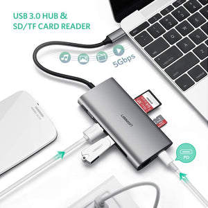 UGREEN USB C Hub VGA Type C Multiport Adapter Dock Station with VGA 1080P, Power Delivery Charging, 3 Port USB 3.0, SD TF Card Reader Compatible for MacBook Pro 2017, ChromeBook Pixel, Dell XPS 13 - Ugreen