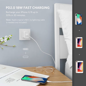 UGREEN USB C Power Delivery Charger 18W PD Quick Charge Type C Wall Charger Fast USB Charging Adapter Compatible for iPhone Xs Max XR XS, Samsung S10 S9 Galaxy Note 9 8, iPad Pro 2018, Nintendo Switch - Ugreen