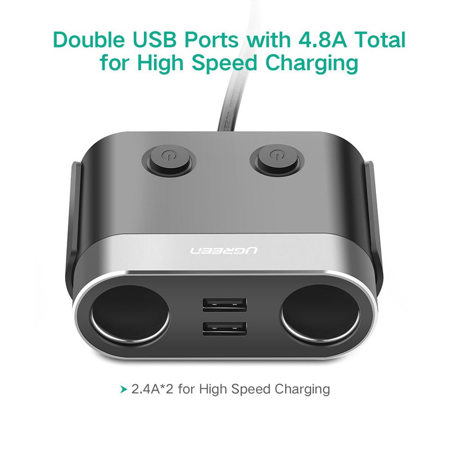 120W Dual Cigarette USB Car Charger - Ugreen