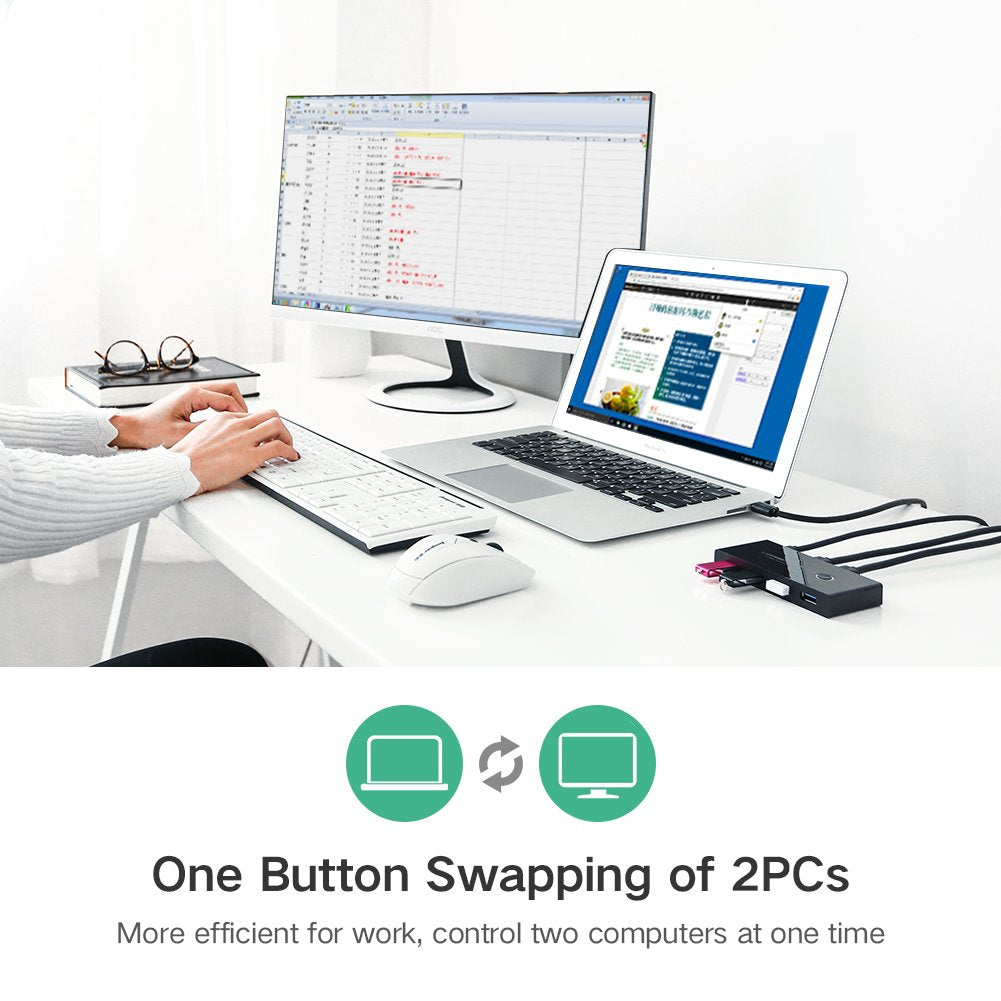 USB Switch Selector,USB Switcher Hub for 2 PC 4 USB Devices One-Button Swapping