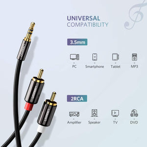 3.5mm to 2RCA Stereo Cable Y Splitter - Ugreen
