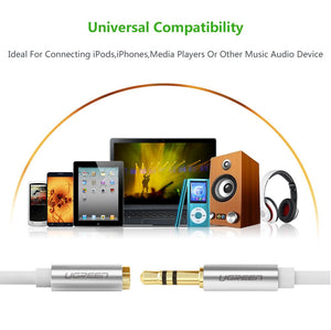 UGREEN 3.5mm Male to Female Extension Stereo Audio Extension Cable Adapter Gold Plated Compatible for iPhone, iPad or Smartphones, Tablets, Media Players - Ugreen