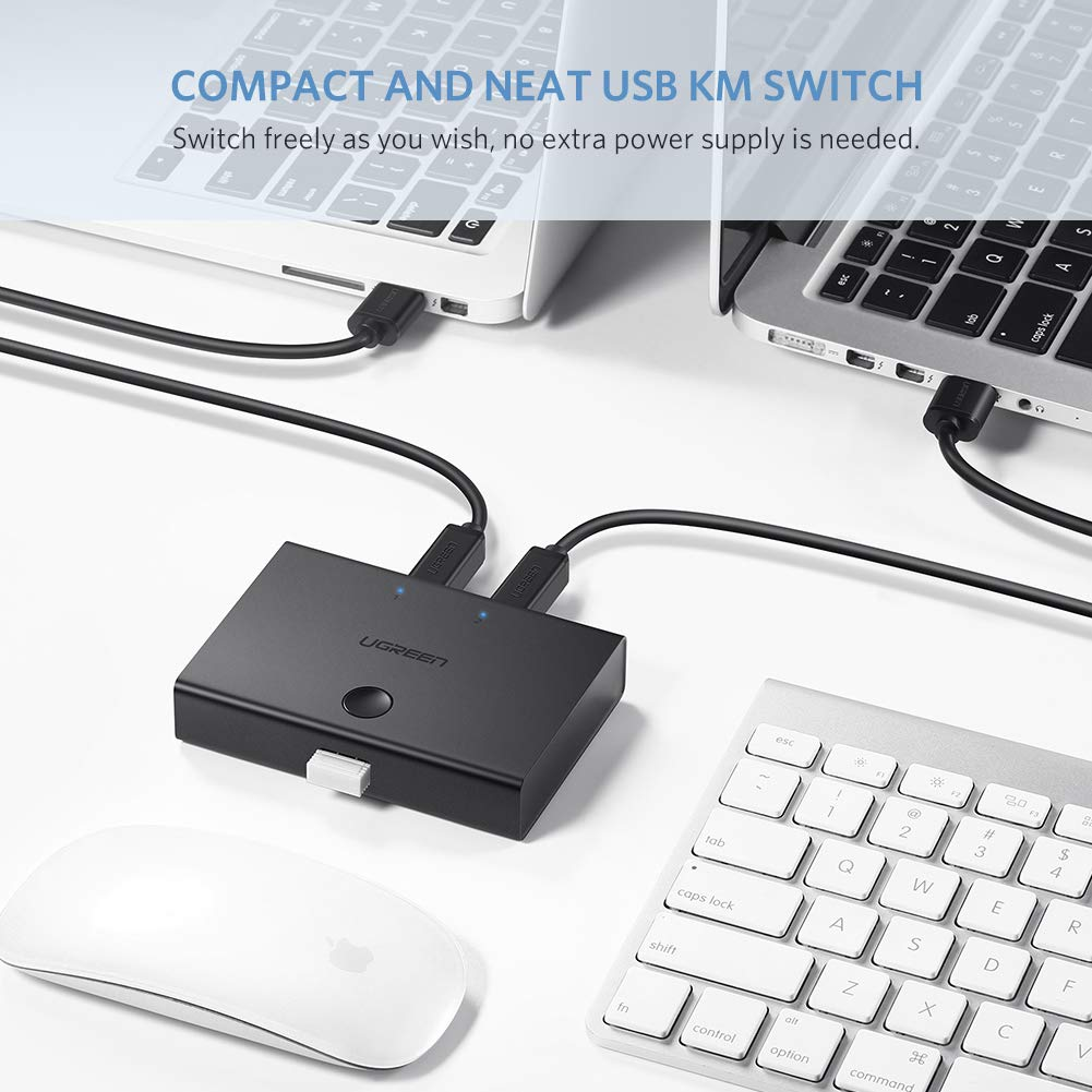 UGREEN USB 2.0 Sharing Switch 2 Ports USB Peripheral Switcher Adapter Box Hub 2 pcs Share 1 USB Device for Printer Scanner with 2pcs USB 2.0 Male Cables