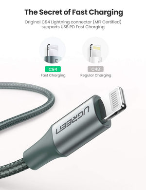 Braided USB C to Lightning Cable