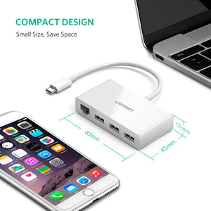 UGREEN USB C Hub Ethernet USB Type C Thunderbolt 3 to 3 Ports USB 3.0 Hub with Network RJ45 Adapter Dongle Compatible for MacBook Pro, ChromeBook Pixel, Dell XPS, Huawei Matebook, Lenovo Yoga 910 More - Ugreen
