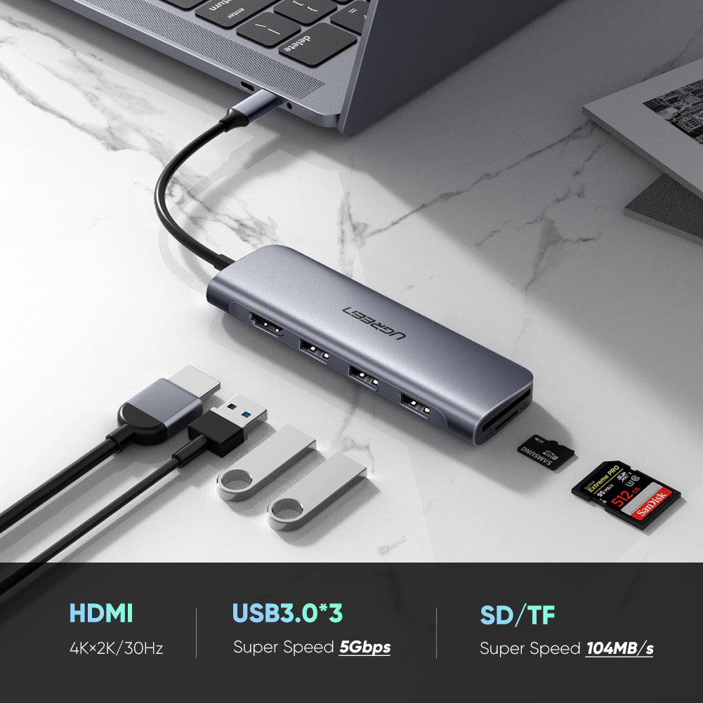 Portable 6-in-1 USB C Hub