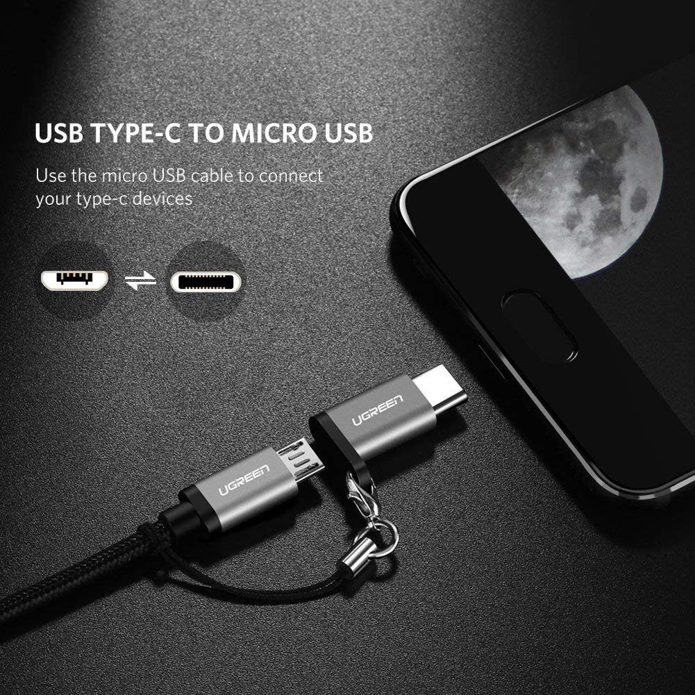 Blue 2019 USB Type C Adapter,4-Pack Aluminum USB C to Micro USB Convert Connector with Keychain Charger Compatible Samsung Galaxy S9 S8 Plus Note 9 8,Pixel 2 XL,LG V20 G5,Moto Z Z2