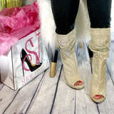 Diva-Sparkly peep-toe booties