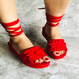 Flossie-Red fringe open toe sandals