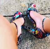 Amy-Graffiti Print Block Heel