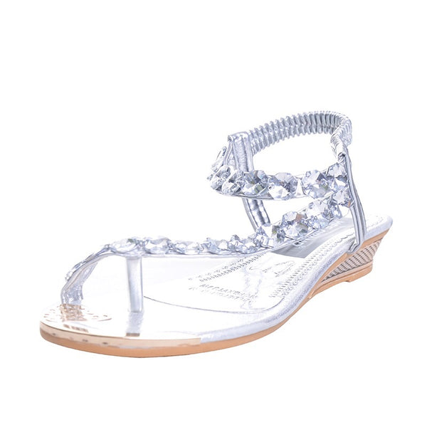 Chloe-Boho Fashion flat toe bejeweled sandals