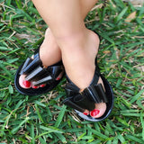 Atlanta-Black thong slides with multi layered bow accent