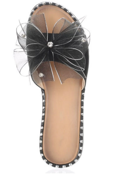 Bella-Open Toe slides with Oversized Sheer Bow
