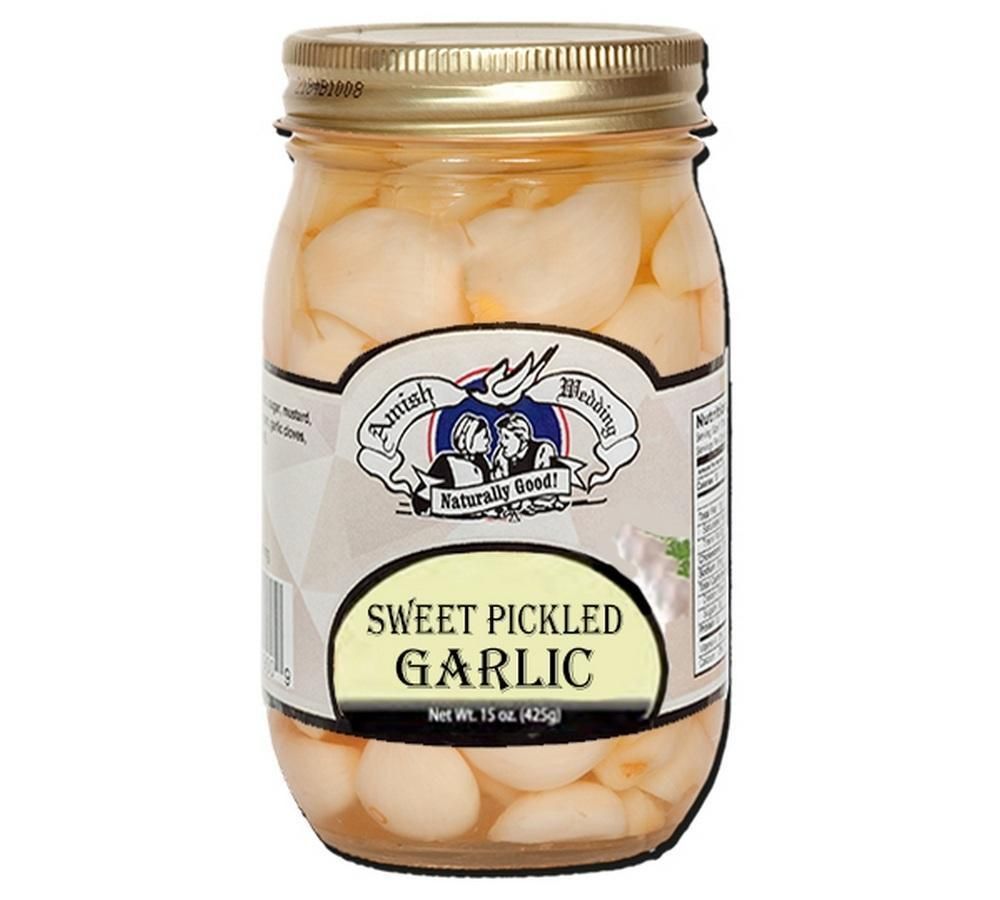 Amish Wedding Sweet Pickled Garlic 3-pack Jarred Goods Amish Weddng