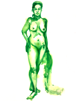 30 Minute Long Pose - Green Drawing Ink