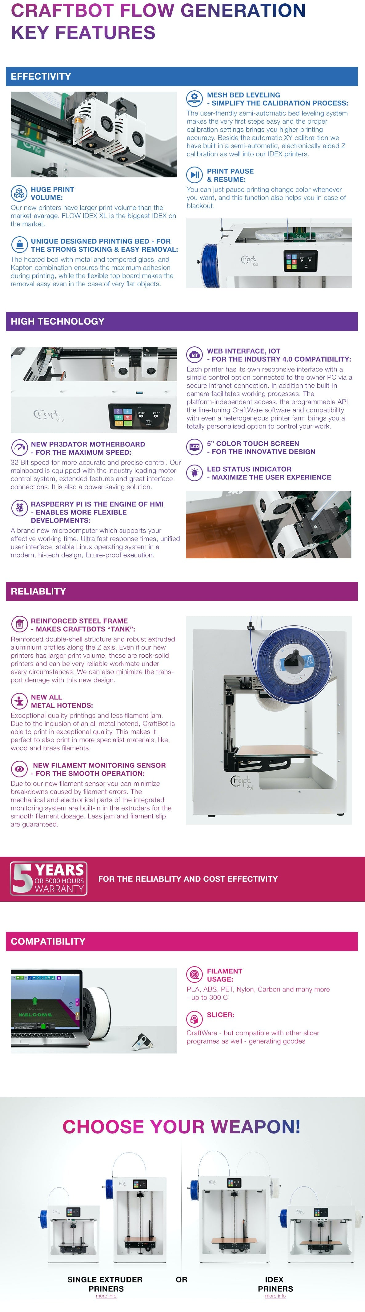 CraftBot FLOW Single Extruder 3D Printer 3