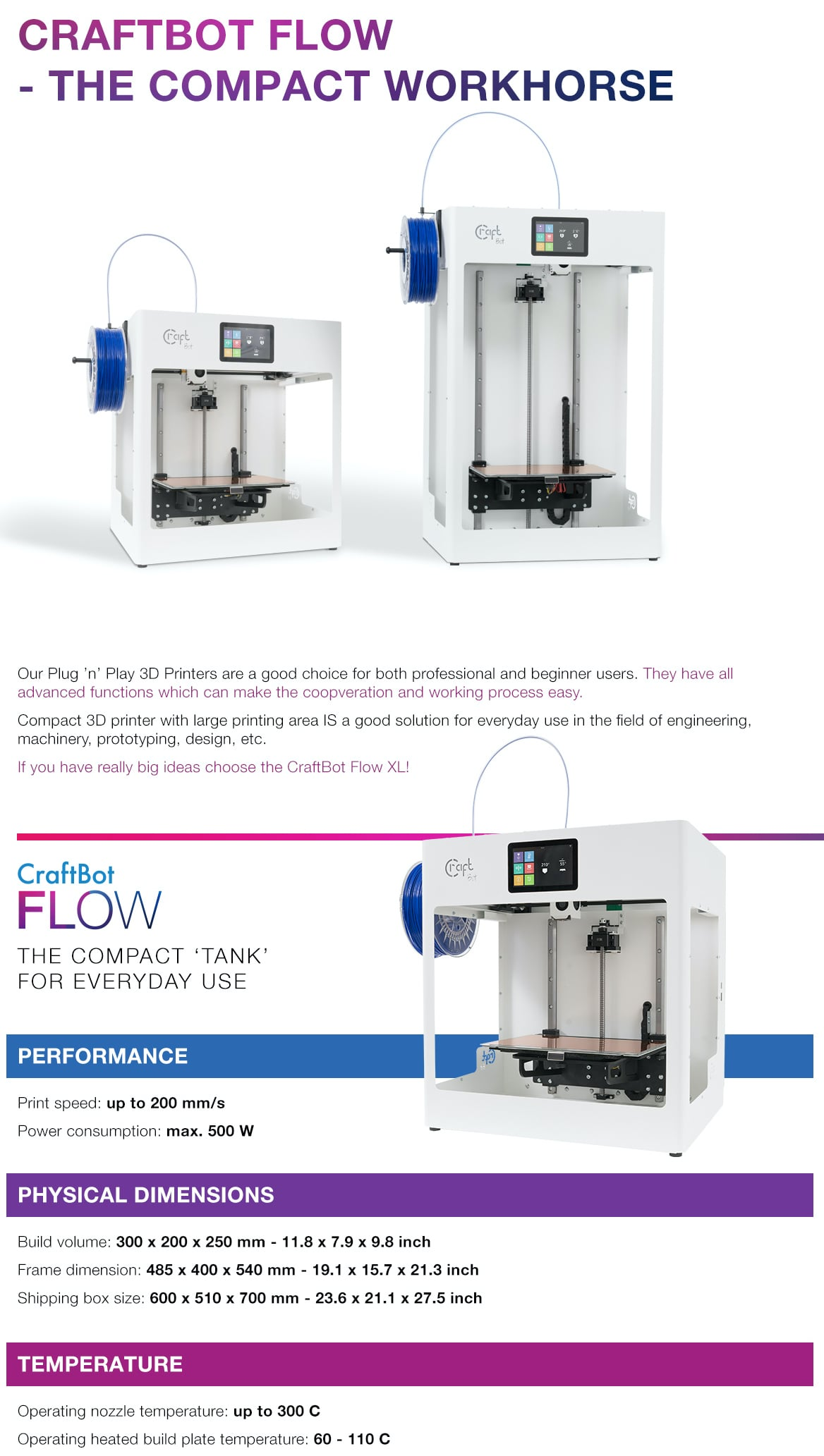 CraftBot FLOW Single Extruder 3D Printer 4