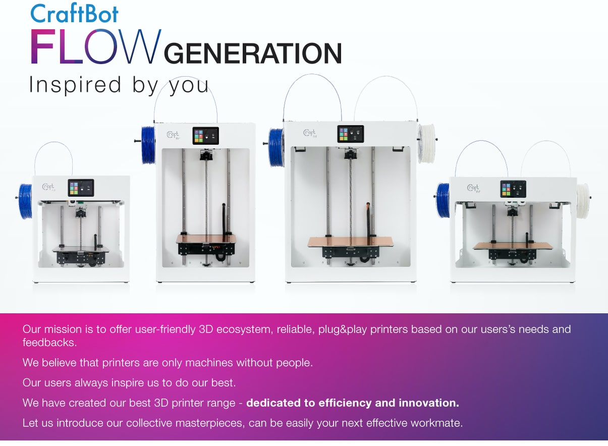 CraftBot FLOW IDEX 3D Printer Description