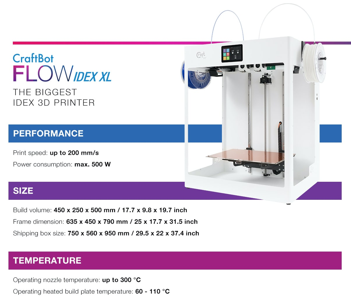CraftBot FLOW IDEX XL Dual Extruder 3D Printer