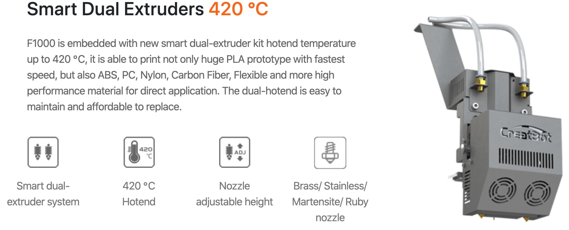 CreatBot F1000 3D Printer Description Features 3