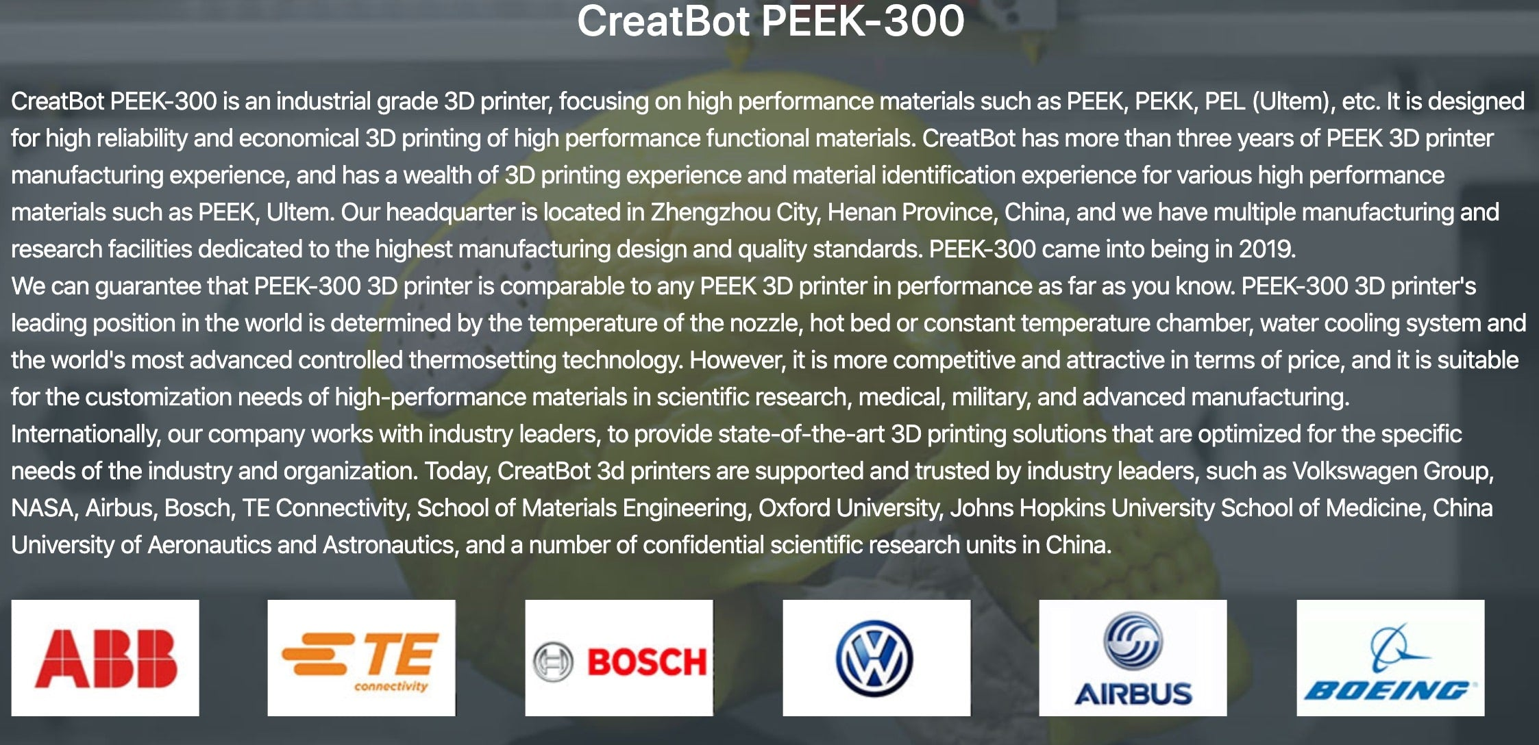 CreatBot PEEK-300 Ultra High-Temperature PEEK ULTEM 3D Printer Description 4