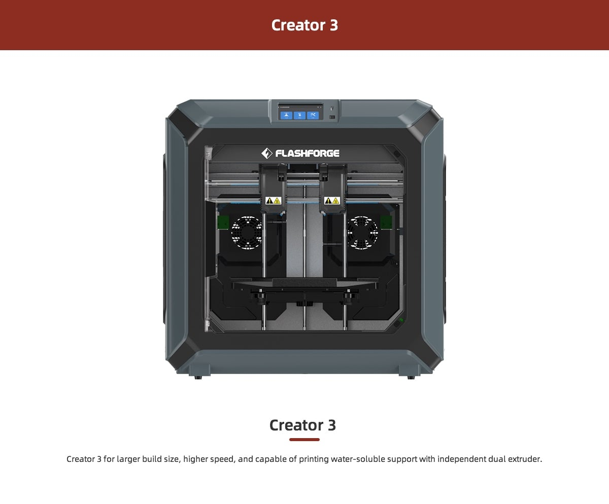 Flashforge Creator 3 New Industrial Independent Dual Extruder Professional 3D Printer