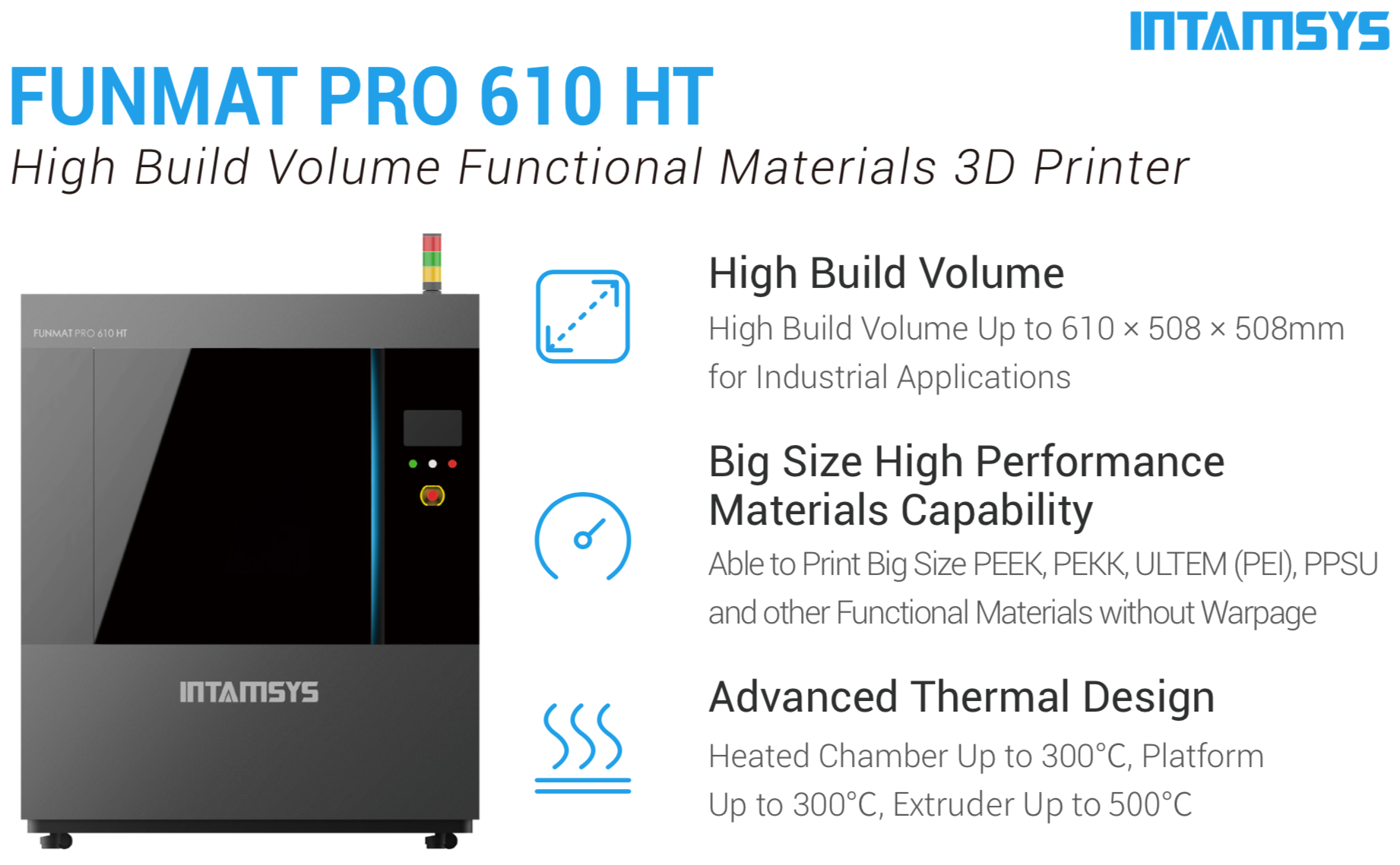 INTAMSYS FUNMAT PRO 610 HT Full-size High Performance Functional Materials 3D Printer