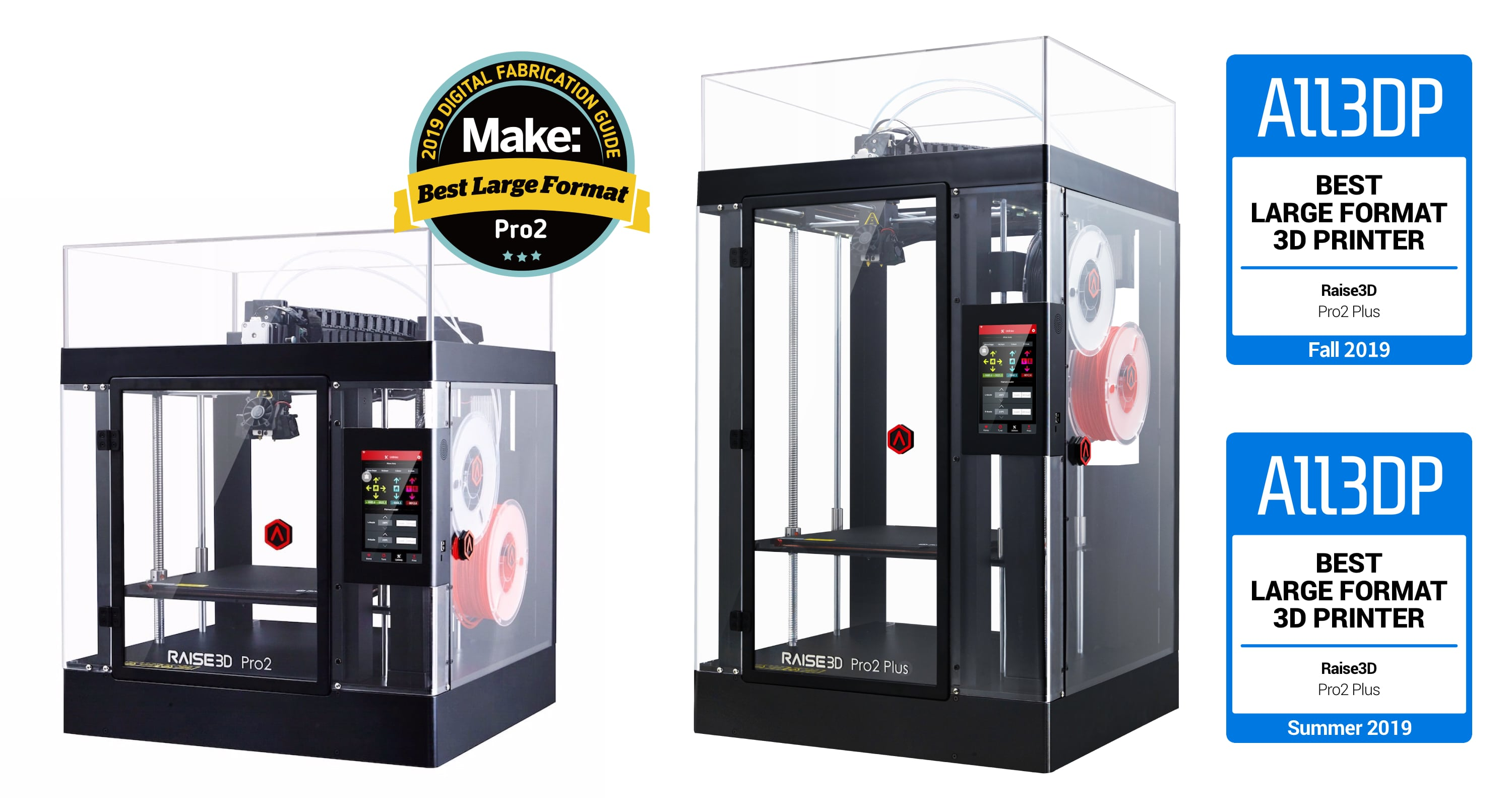 Raise3D Pro2 3D Printer and Pro2 Plus 3D Printer Awards Winning Banner