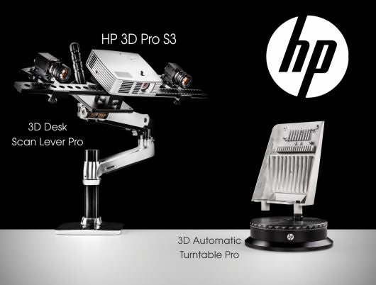 HP 3D Structured Light Scanner Pro S3 3D Scanner - Dual Camera Upgrade Kit + HP 3D Automatic Turntable Pro + HP 3D Desk Scan Lever Pro