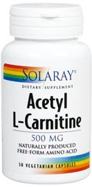 Acetyl L-Carnitine 500 mg.  30 caps.  Solaray