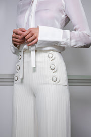 Andrea cream pin stripe trousers