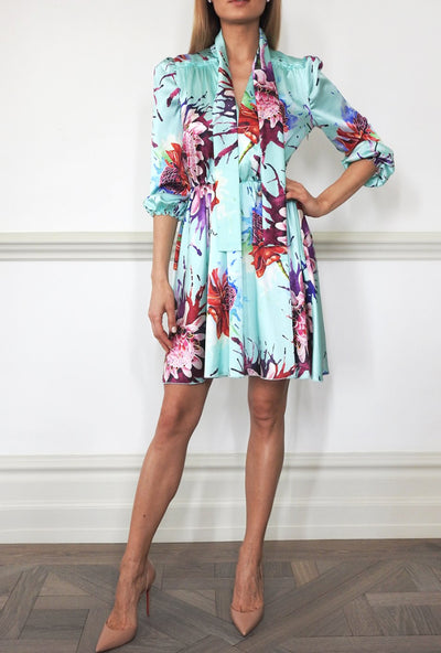 Adriana Dress Water Flowers Print