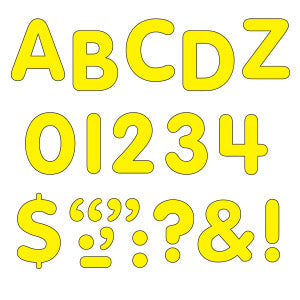 "Yellow 1"" Letters, Numbers & marks Stick-Eze Stick-On Letters"