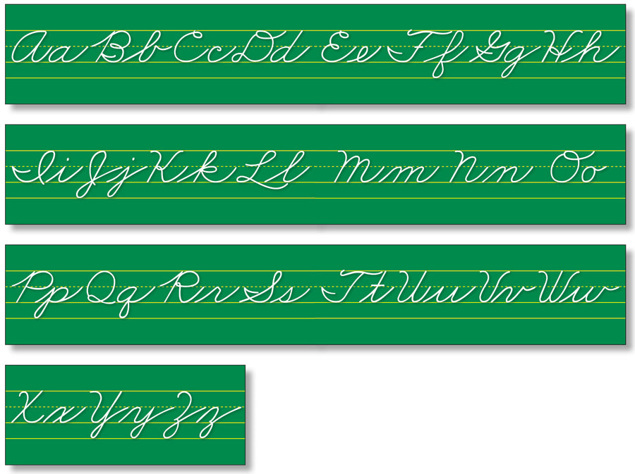 Alphabet Lines - Green Traditional Cursive