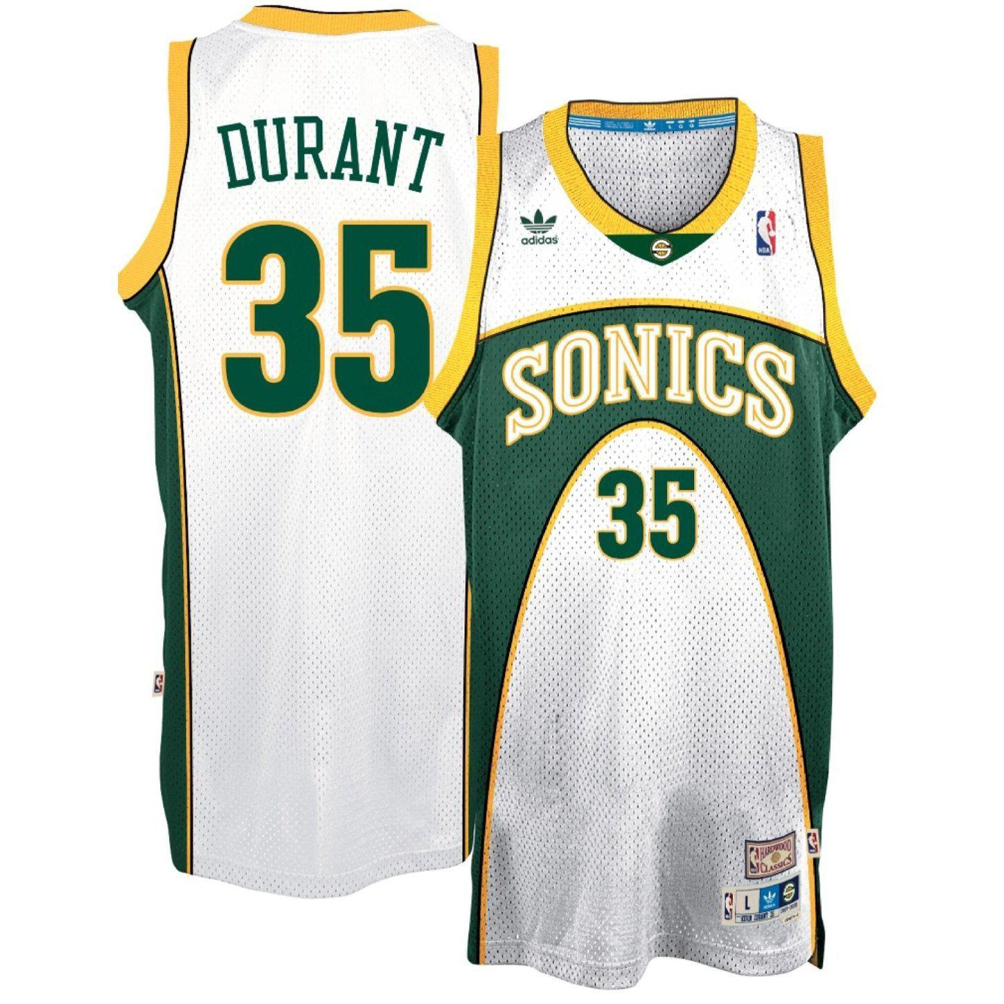 best sneakers 2bb5c 77142 Adidas NBA Seattle SuperSonics Kevin Durant Hardwood Classic Adidas  Swingman Jersey