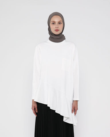 Ruffle T-Shirt White