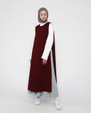 Apron Dress Dark Maroon