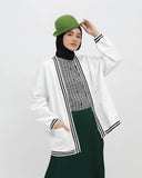 Stripe Rib Cardigan White
